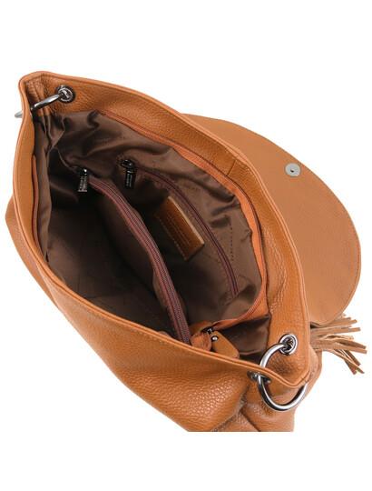 Geanta piele dama Tuscany Leather, coniac, TL Bag