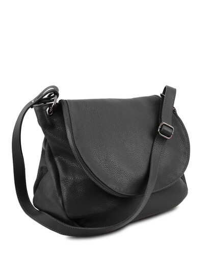 Geanta neagra din piele naturala Tuscany Leather, TL Bag