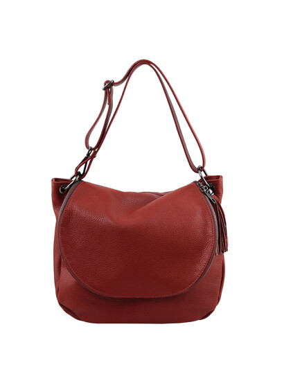 Geanta rosie dama din piele naturala Tuscany Leather, TL Bag