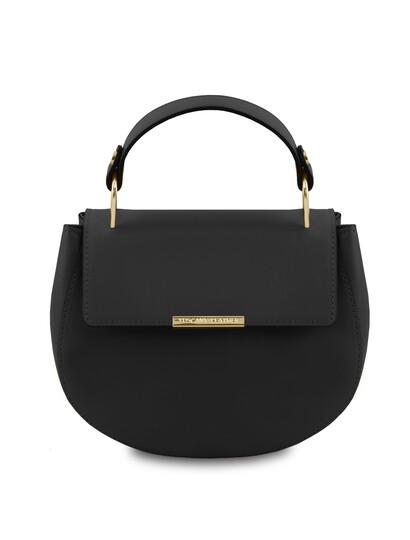 Geanta dama de mana din piele naturala neagra Tuscany Leather, Luna