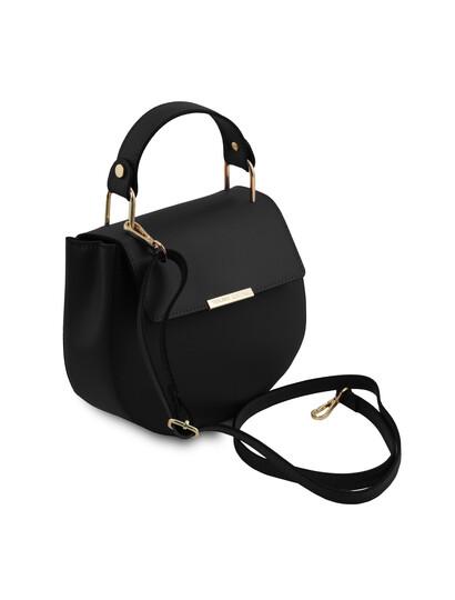 Geanta neagra dama de mana din piele naturala Tuscany Leather, Luna