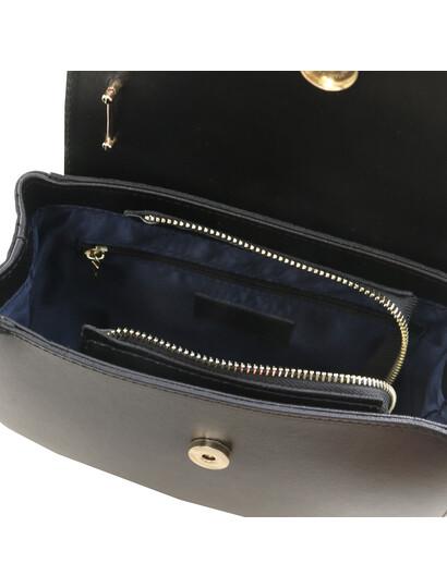 Geanta de firma dama din piele naturala neagra Tuscany Leather, Luna