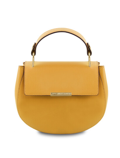 Geanta galben mustar dama de mana din piele naturala Tuscany Leather, Luna