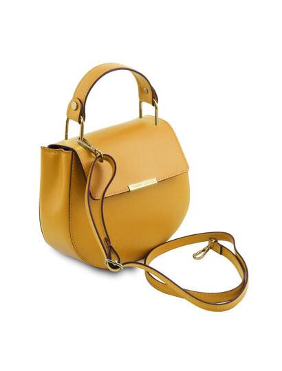 Geanta dama de mana din piele naturala galben mustar Tuscany Leather, Luna