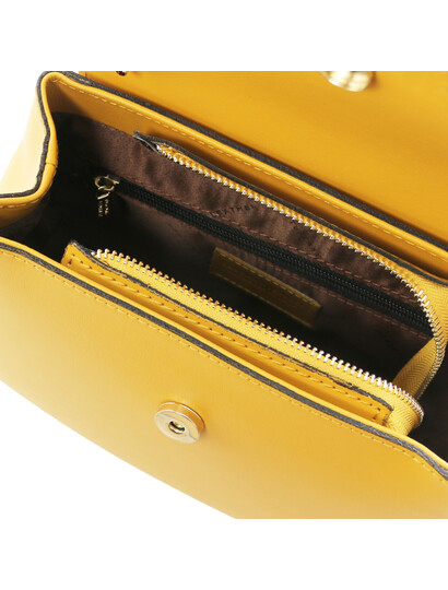 Geanta galben mustar din piele naturala Tuscany Leather, Luna