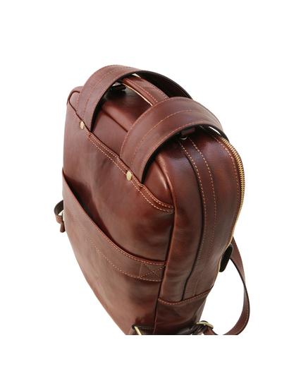 Rucsac laptop de firma din piele naturala maro, Tuscany Leather, Nagoya