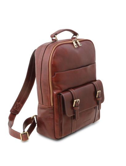 Rucsac laptop piele naturala maro, Tuscany Leather, Nagoya