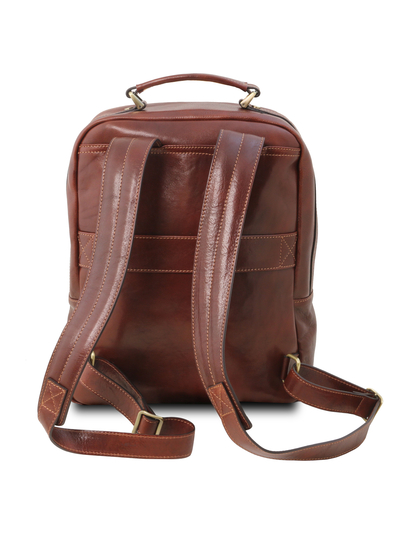 Rucsac laptop premium din piele naturala maro, Tuscany Leather, Nagoya