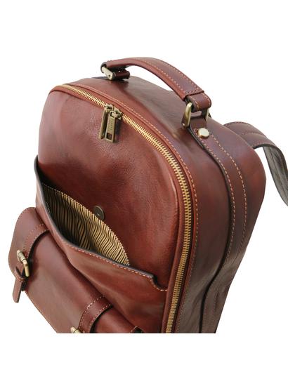 Rucsac laptop maro din piele naturala, Tuscany Leather, Nagoya