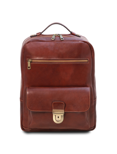 Rucsac laptop din piele naturala maro Tuscany Leather, Kyoto