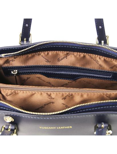 Geanta dama din mana Tuscany Leather din piele albastru inchis Aura