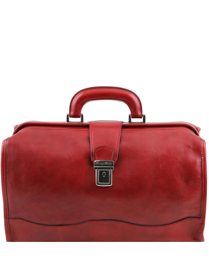 Raffaello Doctor leather bag Red
