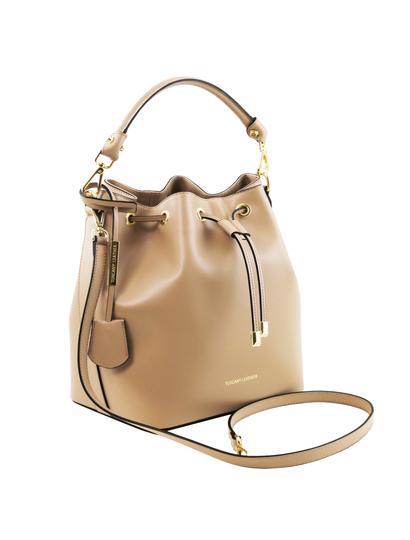 Geanta dama de firma Tuscany Leather din piele sampanie Vittoria