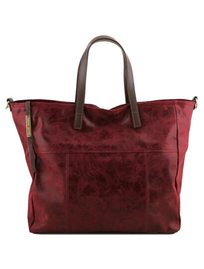 Geanta shopper Tuscany Leather din piele bordo Annie