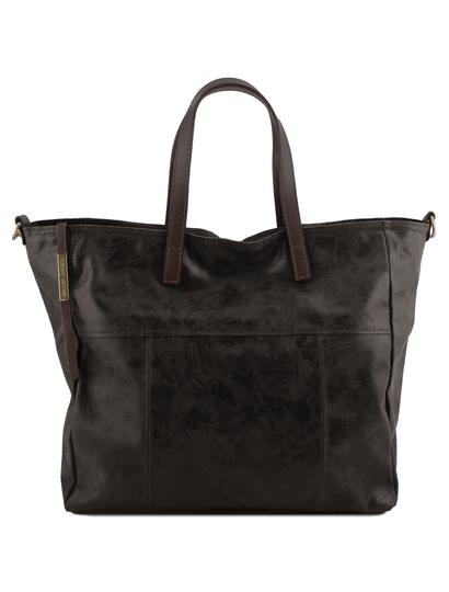 Geanta neagra shopper Tuscany Leather din piele naturala Annie