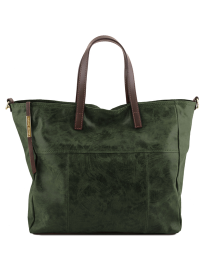 Geanta shopper Tuscany Leather din piele verde inchis Annie