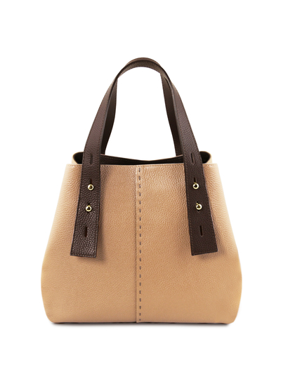 Geanta dama din piele naturala Tuscany Leather, sampanie