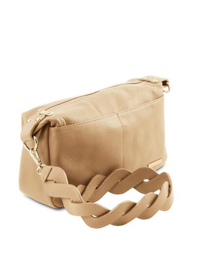 Geanta de firma dama de umar Tuscany Leather din piele naturala sampanie