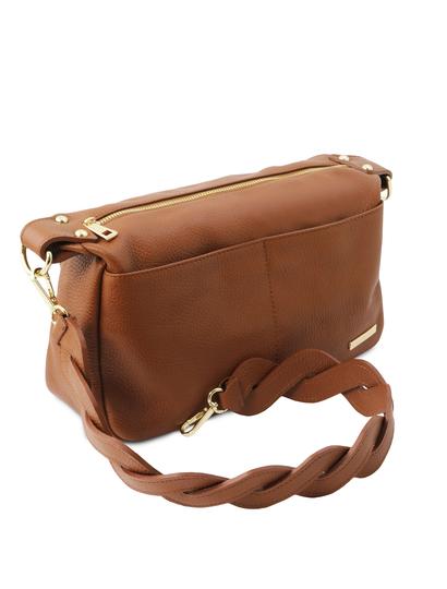 Geanta dama de firma Tuscany Leather din piele naturala coniac