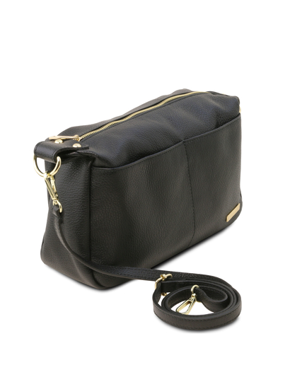 Geanta dama de firma Tuscany Leather din piele naturala neagra
