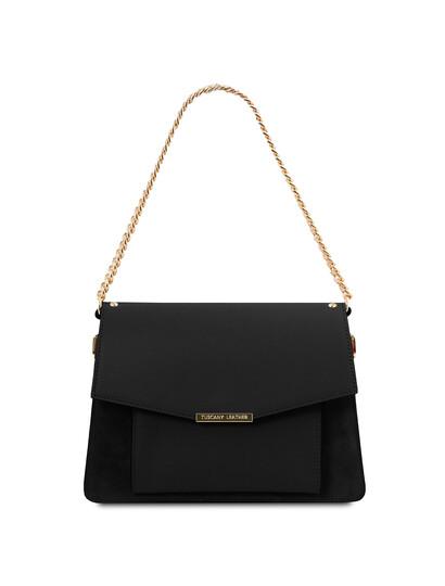 Geanta dama din piele naturala neagra, Tuscany Leather, Andromeda