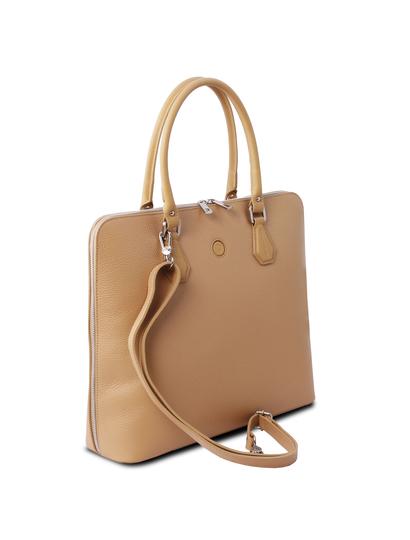 Geanta business piele naturala sampanie, Tuscany Leather, Magnolia