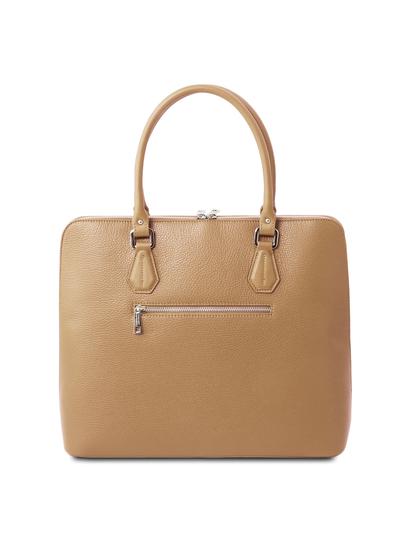 Geanta business eleganta din piele naturala sampanie, Tuscany Leather, Magnolia