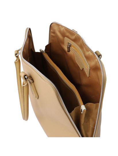 Geanta business de firma dama din piele naturala sampanie, Tuscany Leather, Magnolia