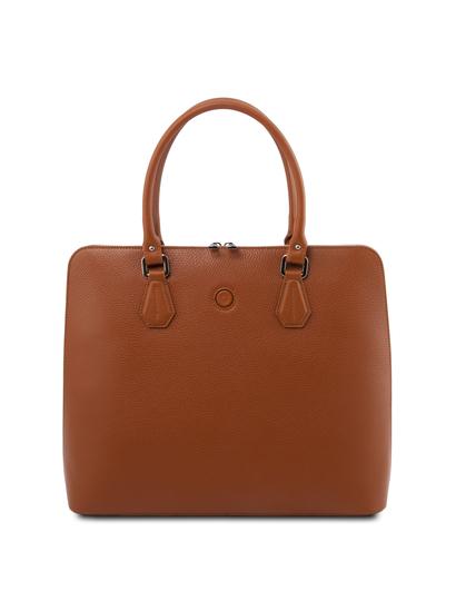 Geanta business dama din piele naturala coniac, Tuscany Leather, Magnolia