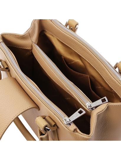Geanta de firma dama din piele naturala sampanie, Tuscany Leather, Fiordaliso
