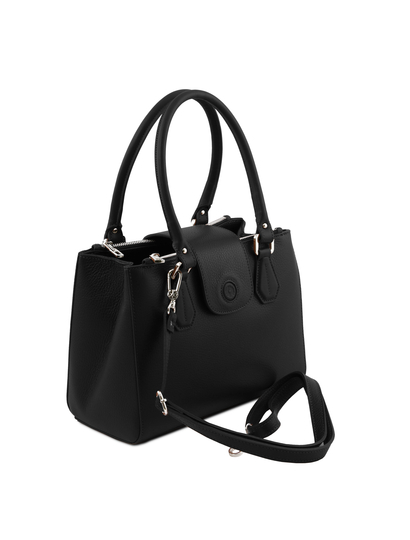 Geanta eleganta dama din piele naturala neagra, Tuscany Leather, Fiordaliso