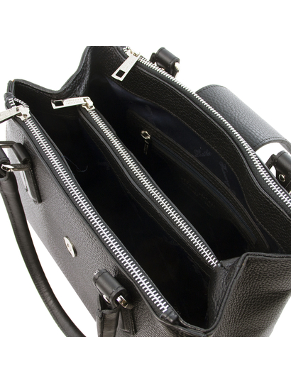 Geanta de firma dama din piele naturala neagra, Tuscany Leather, Fiordaliso