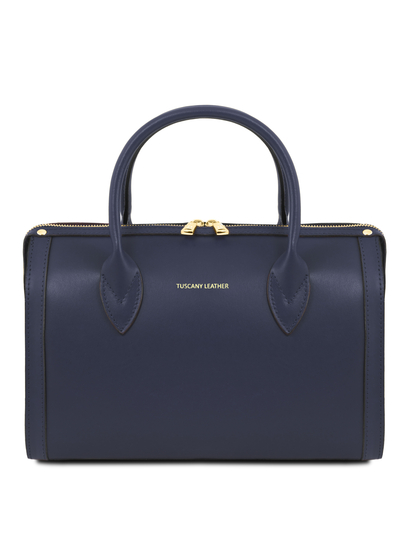 Geanta dama din piele naturala Tuscany Leather, albastru inchis, Elena