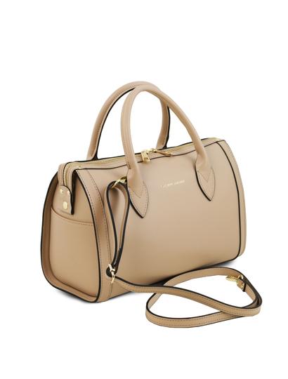 Geanta de firma dama din piele naturala sampanie Tuscany Leather, Elena