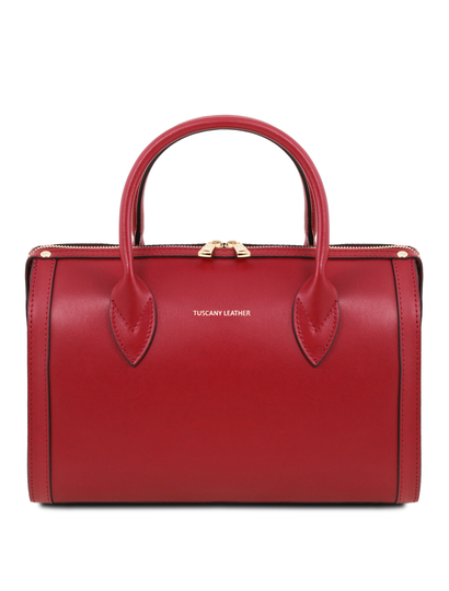 Geanta dama din piele naturala rosie Tuscany Leather, Elena