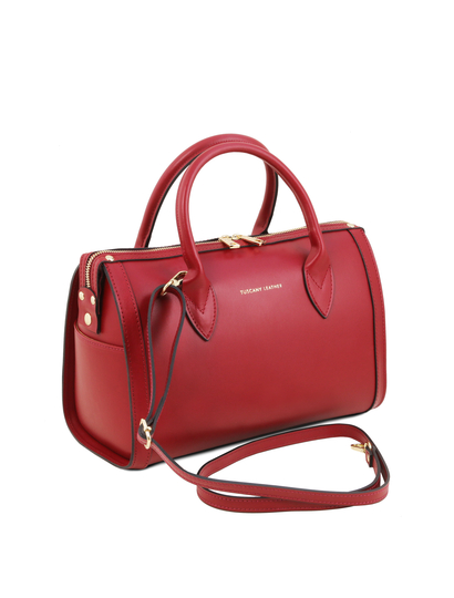 Geanta rosie dama din piele naturala Tuscany Leather, Elena