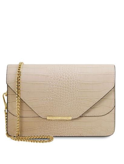 Plic dama bej din piele naturala Tuscany Leather, Hera cu print croc