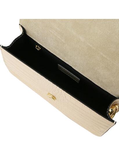 Plic de firma dama bej din piele naturala Tuscany Leather, Hera cu print croc