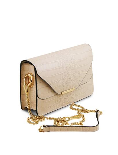 Plic elegant dama bej din piele naturala Tuscany Leather, Hera cu print croc