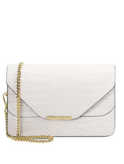 Plic alb dama din piele naturala Tuscany Leather, Hera cu print croc