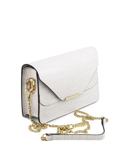 Plic dama alb din piele naturala Tuscany Leather, Hera cu print croc
