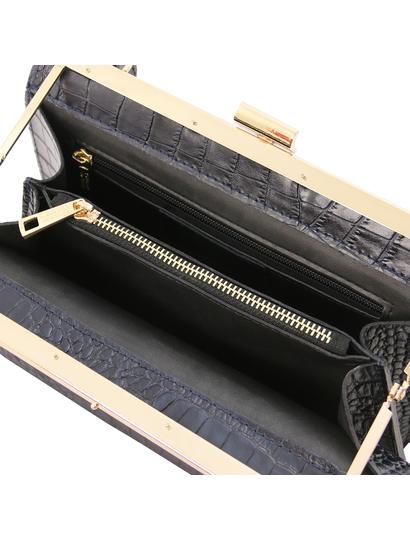 Geanta de firma dama din piele printata albastru inchis Tuscany Leather, Iris Croc