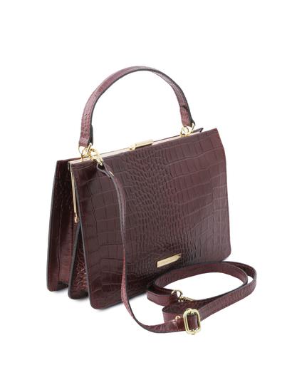 Geanta eleganta dama din piele printata bordo Tuscany Leather, Iris Croc