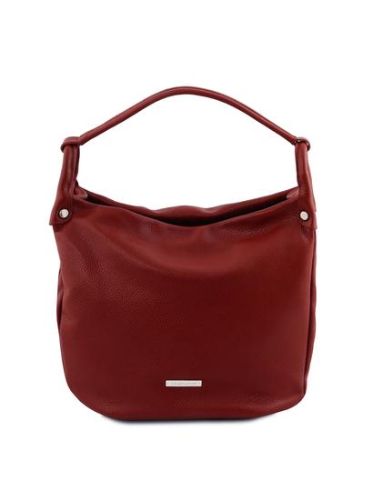 Geanta rosie dama din piele naturala Tuscany Leather, Hobo