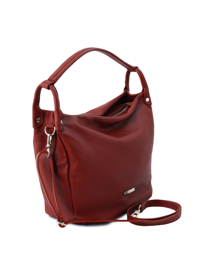Geanta rosie din piele naturala Tuscany Leather, Hobo