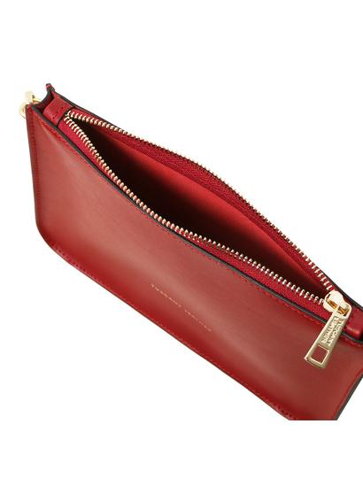 Plic rosu din piele naturala, Tuscany Leather, Cassandra