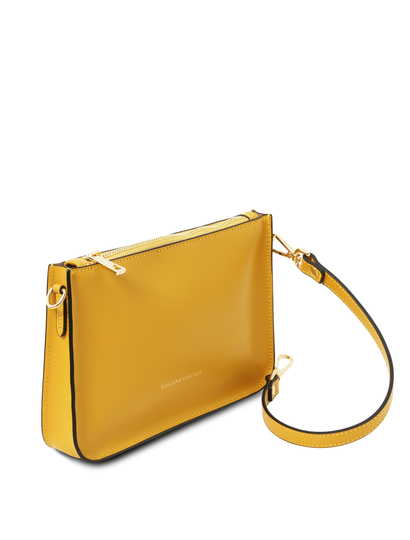 Plic galben mustar din piele naturala, Tuscany Leather, Cassandra
