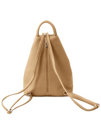 Rucsac deosebit dama din piele naturala Tuscany Leather, sampanie, Shanghai
