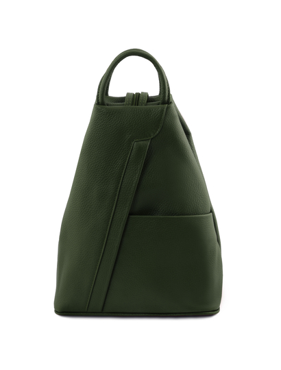 Rucsac dama din piele naturala Tuscany Leather, verde inchis, Shanghai