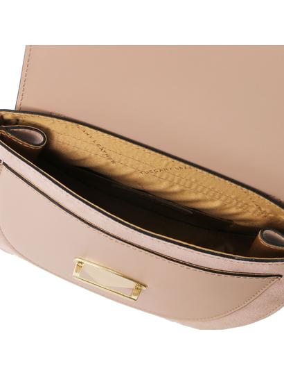 Geanta lux dama de mana din piele naturala taupe, Tuscany Leather, Talia